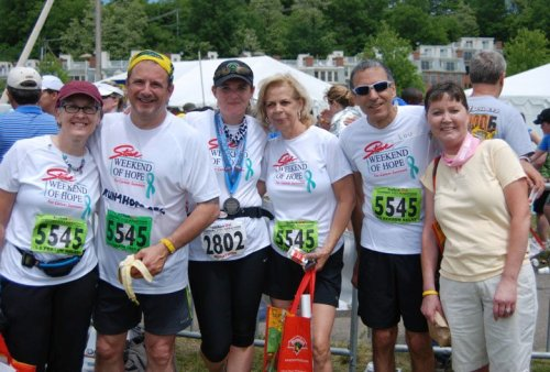 Team iCanSir! at the finish of the Vermont City Marathon 5/30/10